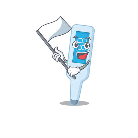 A brave digital thermometer mascot character design holding a white flag
