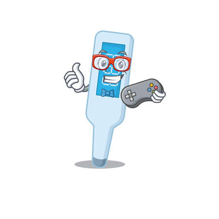 Cartoon Mascot design of digital thermometer gamer using controller Stock Illustratie