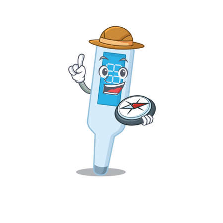 digital thermometer mascot design style of explorer using a compass during the journey