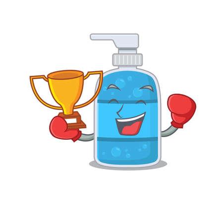 An elegant boxing winner of hand wash gel caricature design concept