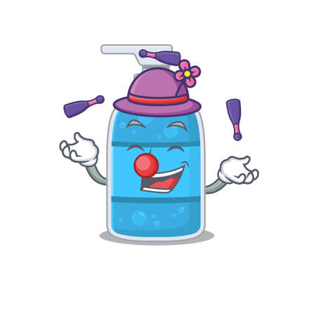 A hand wash gel cartoon design style succeed playing juggling