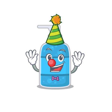 smiley clown hand wash gel cartoon character design concept Vettoriali