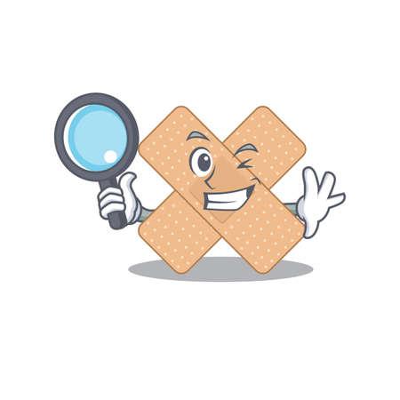 cartoon mascot design of cross bandage super Detective breaking the case using tools. Vector illustration