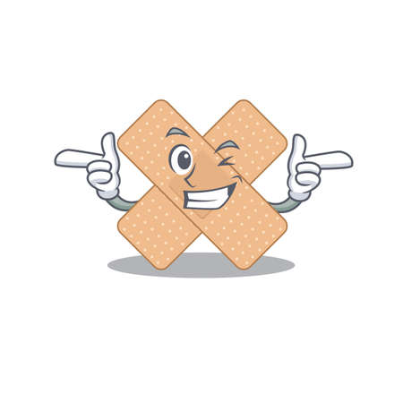 Caricature design concept of cross bandage with funny wink eye. Vector illustration 矢量图像