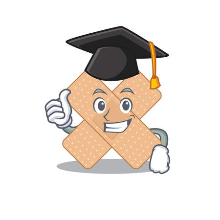 Cross bandage caricature picture design with hat for graduation ceremony. Vector illustration