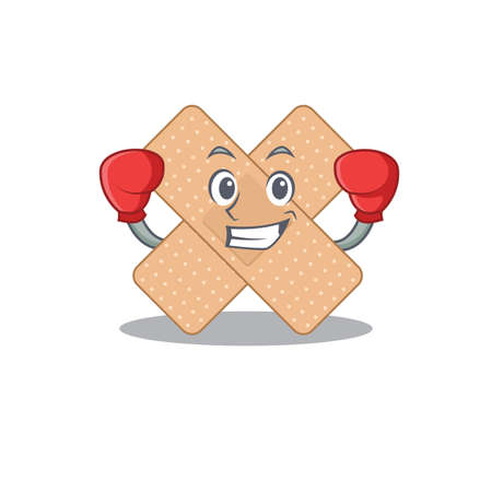 Cross bandage Caricature character design as a champion of boxing competition. Vector illustration