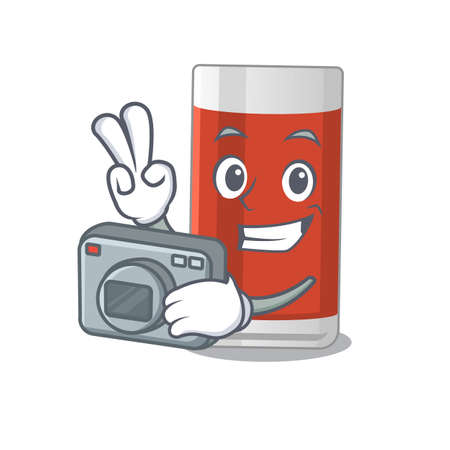 a proficient photographer glass of apple juice cartoon design concept working with camera. Vector illustration