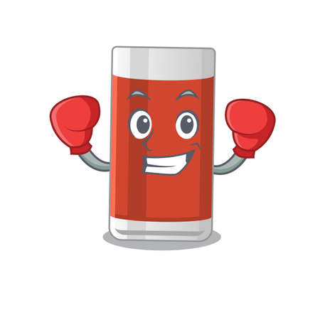 Glass of apple juice Caricature character design as a champion of boxing competition. Vector illustration