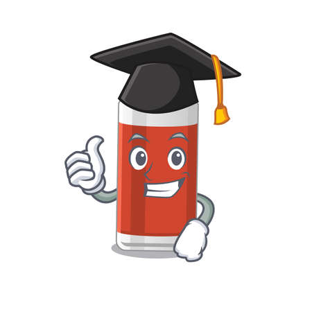 Glass of apple juice caricature picture design with hat for graduation ceremony. Vector illustration Vettoriali