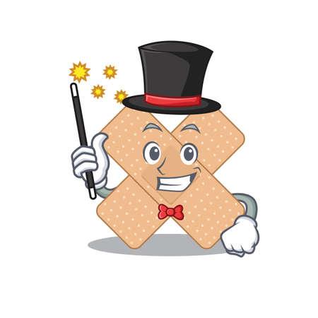 A smart Magician of cross bandage caricature design style. Vector illustration Vettoriali