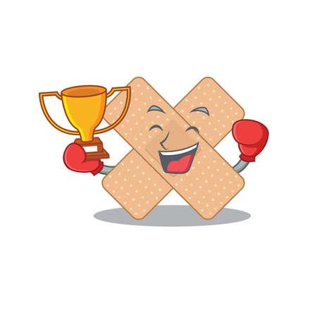 Fabulous boxing winner of cross bandage caricature design style. Vector illustration