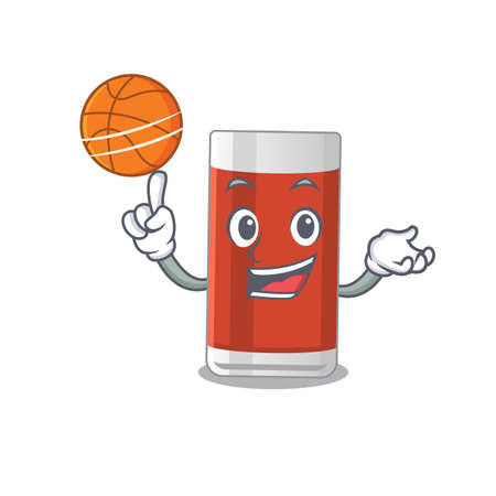 An athletic glass of apple juice cartoon mascot design with basketball. Vector illustration