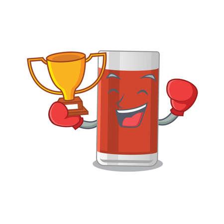 Fabulous boxing winner of glass of apple juice caricature design style. Vector illustration