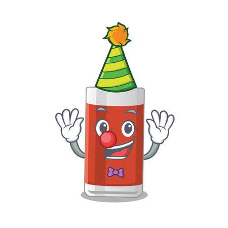 Friendly clown glass of apple juice mascot design concept. Vector illustration