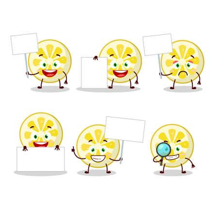 Lemon slice cartoon character bring information board. Vector illustration