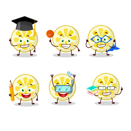 School student of lemon slice cartoon character with various expressions. Vector illustration
