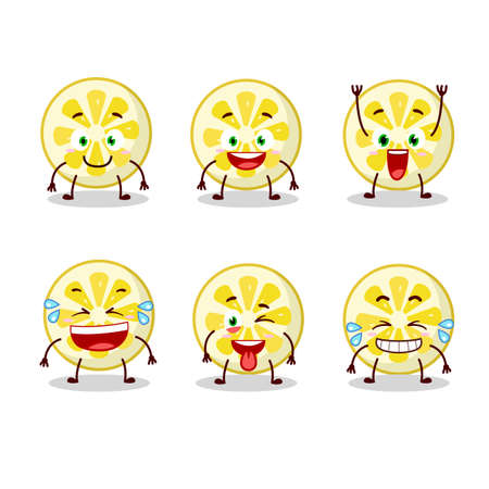 Cartoon character of lemon slice with smile expression. Vector illustration 矢量图像