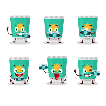 Photographer profession emoticon with sunblock cartoon character. Vector illustration 일러스트