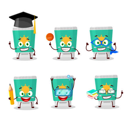 School student of sunblock cartoon character with various expressions. Vector illustration