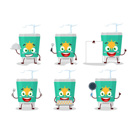 Cartoon character of sunblock with various chef emoticons. Vector illustration