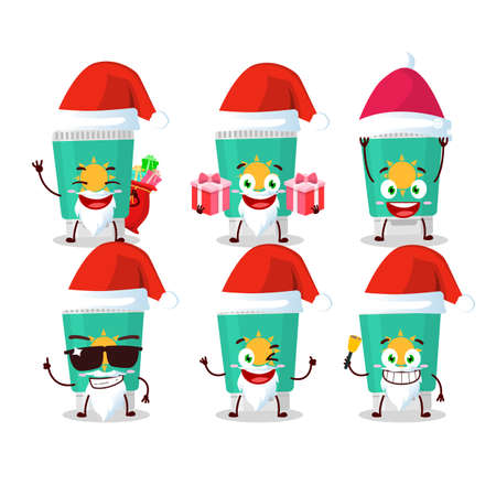 Santa Claus emoticons with sunblock cartoon character. Vector illustration