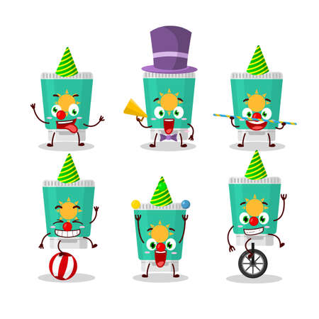 Cartoon character of sunblock with various circus shows. Vector illustration