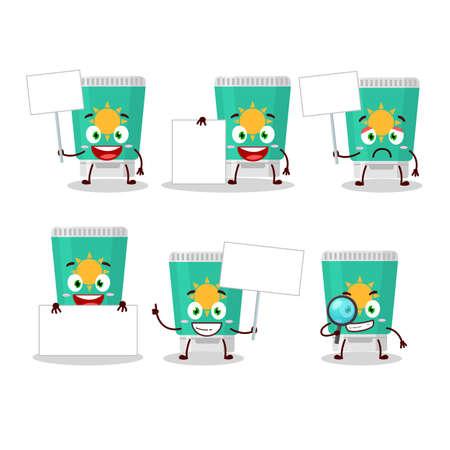 Sunblock cartoon in character bring information board. Vector illustration