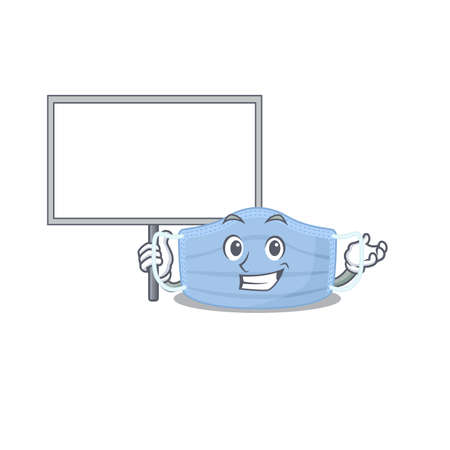 Cartoon picture of surgical mask mascot design style carries a board