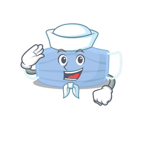 Smiley sailor cartoon character of surgical mask wearing white hat and tie