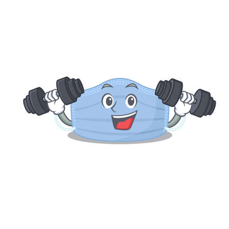 Surgical mask mascot design feels happy lift up barbells during exercise