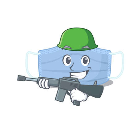 A cartoon picture of Army surgical mask holding machine gun