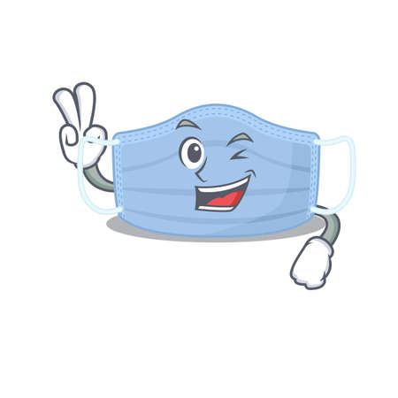 Happy surgical mask cartoon design concept show two fingers