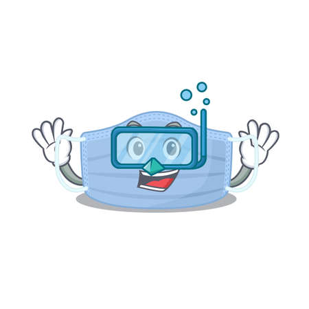 Surgical mask mascot design swims with diving glasses