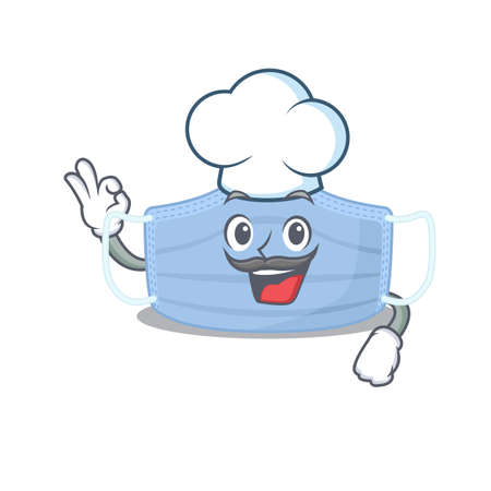 Talented surgical mask chef cartoon drawing wearing chef hat