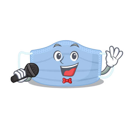cartoon character of surgical mask sing a song with a microphone Ilustração
