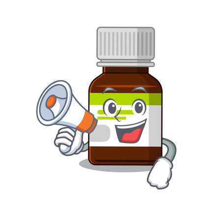 Mascot design of antibiotic bottle announcing new products on a megaphone  イラスト・ベクター素材