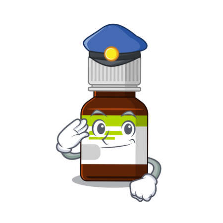 Police officer cartoon drawing of antibiotic bottle wearing a blue hat