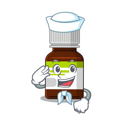 Smiley sailor cartoon character of antibiotic bottle wearing white hat and tie 矢量图像