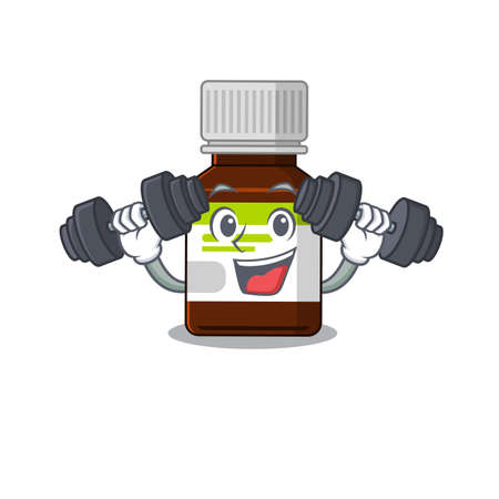 Antibiotic bottle mascot design feels happy lift up barbells during exercise 矢量图像