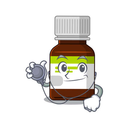Smiley doctor cartoon character of antibiotic bottle with tools  イラスト・ベクター素材