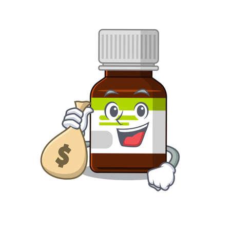 Crazy rich antibiotic bottle mascot design having money bags  イラスト・ベクター素材