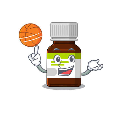 Sporty cartoon mascot design of antibiotic bottle with basketball