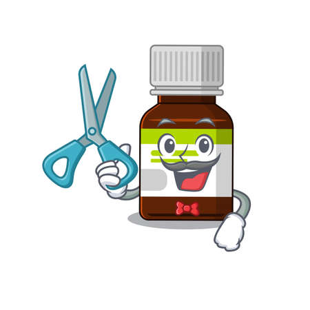 Antibiotic bottle cartoon character design as talented barber
