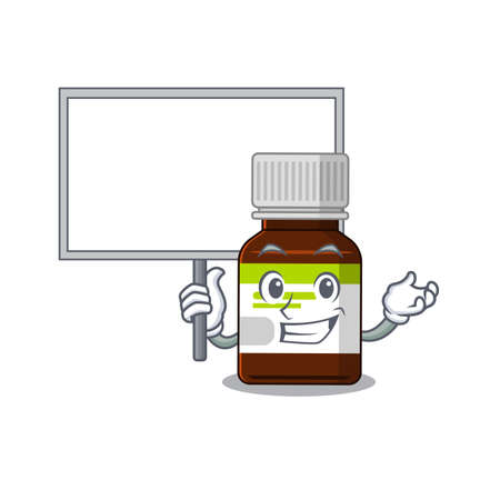 Cartoon picture of antibiotic bottle mascot design style carries a board  イラスト・ベクター素材