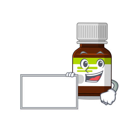Cartoon character design of antibiotic bottle holding a board