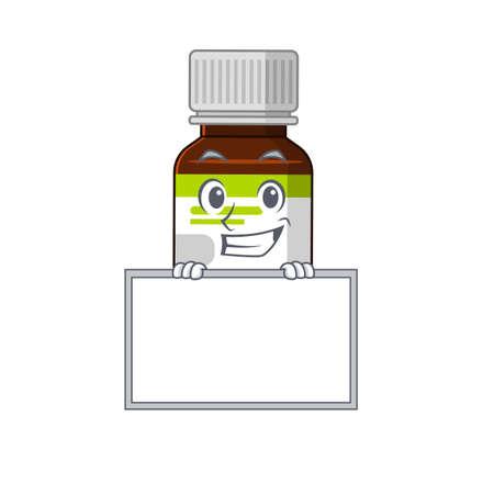 Antibiotic bottle cartoon design style standing behind a board