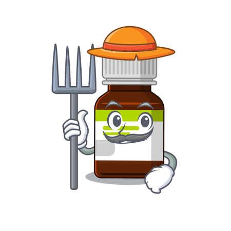 Antibiotic bottle mascot design working as a Farmer wearing a hat
