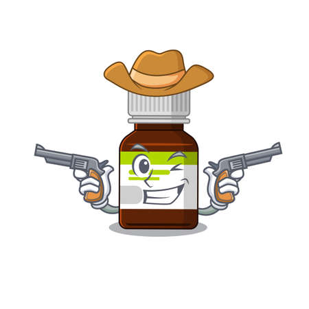 Cartoon character cowboy of antibiotic bottle with guns 矢量图像