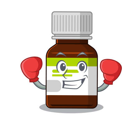 Mascot design of antibiotic bottle as a sporty boxing athlete