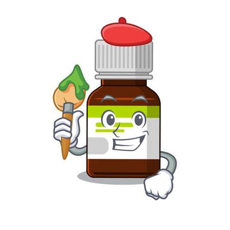 An artistic antibiotic bottle artist mascot design paint using a brush